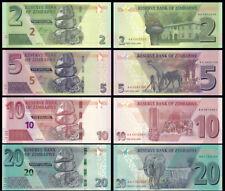 Zimbabwe SET 4 Pcs 2, 5 10 & 20 Dollars 2019-2020 NEW UNC