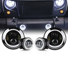 80W CREE LED Headlight w/White Halo Fog Light Upgrade Combo For 07-17 Jeep JK