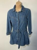 WOMENS MISSGUIDED PETITE SIZE UK 10 BLUE WASH DENIM ALL IN ONE JUMPSUIT PLAYSUIT