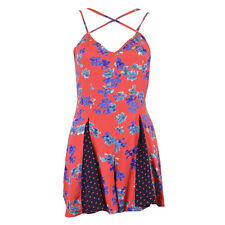 Ex TOPSHOP Red Floral Print Strappy Playsuit Size 6 8 10 12 14 16