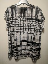 New Directions Woman's Black White Polk A Dot Short Sleeve Pullover Top XL