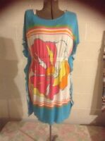 LILLY PULITZER HIBISCUS  TURQUOISE FLORAL MINI DRESS SWIM SUIT COVER UP TUNIC S