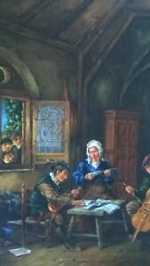 A Fine Painting after Adriaen Van Ostade of 17th C Interior Scene Print