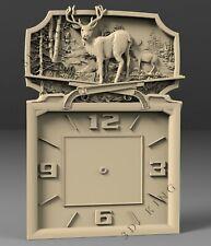 3D STL Model # WALL CLOCK DEER 2 # for CNC Aspire Artcam 3D Printer 3D MAX Rhino