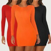 Womens Sexy Slim Round Neck Mini Dress Lady Long Sleeve Nightclub Bodycon Dress