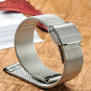 1.8mm Thick 12-24mm Stainless Steel Mesh Watch Band Strap Milanese Bracelet