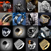 Mens Stainless Steel Gothic Punk Biker Rings Motorcycle Finger Bands Jewelry Lot
