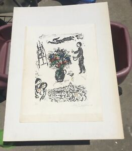 """1983 MARC CHAGALL LITHOGRAPH HAND SIGNED """"BOUQUET SUR LA VILLE"""" by Anthony Tetro"""