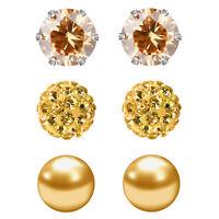 3 Pairs stud earrings CZ Pearl Birthstone Hypoallergenic