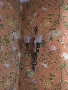 antique light fixture pair