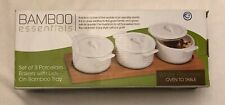Porcelain Bakeware Bakers With Lids Bamboo Tray BAMBOO ESSENTIALS Set of 3 White