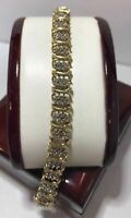 10.00 Carat Round Womens Diamond Tennis Bracelet 14K Yellow Gold over 7.25""