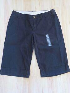 New Women's Hurley Cuffed Capris Black Khaki Cropped Chino Pants Juniors Size 11
