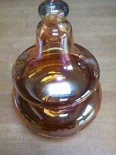 VINTAGE PEACH ETCHED GLASS CONTAINER WITH TOP