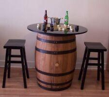 "Whiskey Barrel Black/Gold Checker Board Table c/36"" Top-(2) Wood Bar Stools"