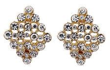 Pendientes de clip-Arito Oro Con Diamantes De Cristal Claro-Ester