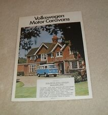 VOLKSWAGEN VW Camper Caravan BROCHURE 1975-T2 caravette eurovette CONTINENTAL