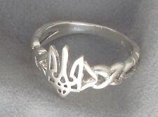 Women Sterling Silver Ring with Ukrainian Trident Tryzub, Тризуб, Size 8