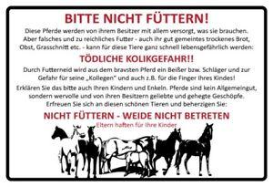 Pferd Pferde bitte nicht füttern weiß Blechschild Schild 20 x 30 cm FA0564