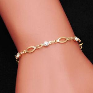 Gold Crystal Friendship Bracelet For Women - Adjustable Link Chain +Velvet Pouch