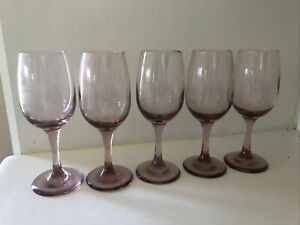 "5 AMETHYST WINE GLASSES 7-1/4"" TALL 8 oz VINTAGE"