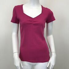 George Damas Rosa manga corta básica de cuello en V Top Elástico Camiseta Uk Size 10