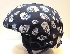 Ski & Sport Helmet cover by Shellskin. Black White Skulls print Spandex. 1 Size
