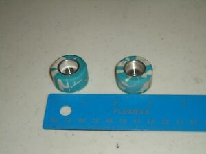 """1/24 PAIR OF VINTAGE TIRES BLUE AND WHITE CANDIES APPROX 1"""" NO CHUNKING"""