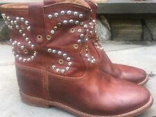 Isabel Marant Size 7/FR 37 Cognac Embellished Caleen Boots Hidden Wedge