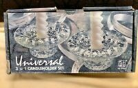 Vintage Clear Glass Candle Holder marked Malaysia Candle Holders Set of 2
