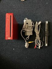 Nintendo Wii Console Red With All The Leads. Tested & Working