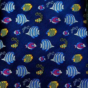 NICOLE MILLER Men's Necktie Blue Colorful Ocean Fish Aquarium Silk