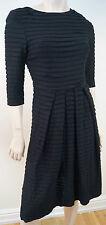 STRENESSE GABRIELE STREHLE Black Pleated Round Neck 3/4 Sleeve Formal Dress UK8