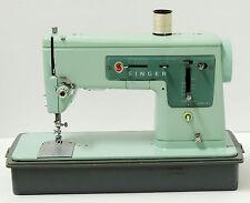 Vintage 1960's Robin Egg Blue Singer 337 Sewing Machine w/ Case *Tested*