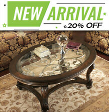 Brookfield Oval Wooden Glass Top Coffee Table Traditional Furniture - Brown