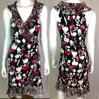 $150 White House Black Market Women 4 Floral Tulip Jersey Ruffle Faux Wrap Dress