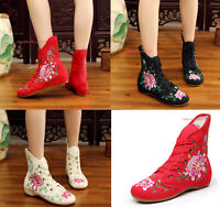 Women Chinese Folk Embroidered Flat Boot Shoes Casual Floral Cloth Shoes Lace Up