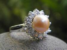9-10mm Peach Pink Pearl Solitaire (Size 7, N 1/2), CZ's & 925 SOLID Silver