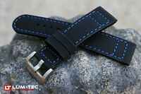 LUM-TEC Genuine OE Lake Erie Blue Stitch, rubber and leather composite strap