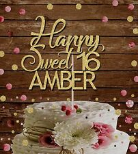 HAPPY SWEET 16 NAME GLITTER CAKE TOPPER BIRTHDAY PARTY gold 16TH Sixteenth