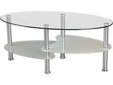 Modern Cara Coffee Table - Clear Glass Top & Chrome Legs - Oval
