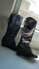 women's boots, size 5, wedge, leather, German made