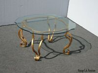 Vintage Spanish Style Wrought Iron Gold Coffee Table / End Table w Ornate Glass
