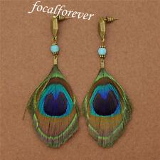 Women Vintage Bohemian Peacock Feather Earrings Studs Dangle Jewelry Party Prom