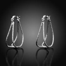 Women 925 Sterling Silver Diamond Cut 30 mm Double U-Shaped Hoop Earrings