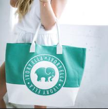 🐘 IVORY ELLA 🐘 Canvas Beach Bag Tote Mint Green & White Quality Made!