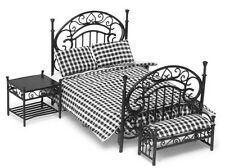 Dollhouse Miniature Bedroom Set/3 Black with Black & White Bedding 1:12 Scale