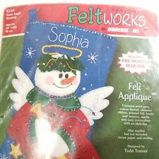 Dimensions Christmas Felt Works Applique Holiday Stocking Kit Snow Angel #8114