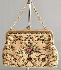 VINTAGE Retro Gold Tapestry Frame Evening Bag/Purse