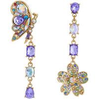 New purple rare rhinestone cute butterfly flowers drop earrings Fashion jewel BJ